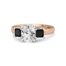 Oval White Sapphire 18K Rose Gold Ring with Black Onyx