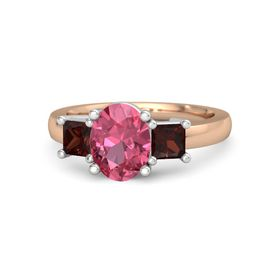 Oval Pink Tourmaline 18K Rose Gold Ring with Red Garnet