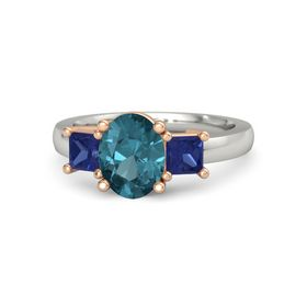Oval London Blue Topaz 18K White Gold Ring with Blue Sapphire