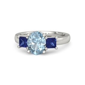 Oval Aquamarine 18K White Gold Ring with Blue Sapphire