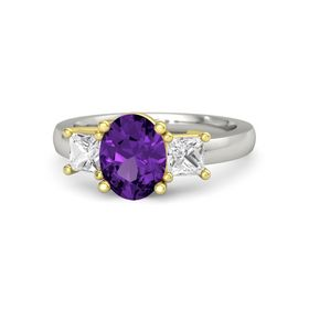 Oval Amethyst 18K White Gold Ring with White Sapphire