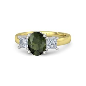Oval Green Tourmaline 18K Yellow Gold Ring with Diamond