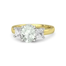Oval Green Amethyst 18K Yellow Gold Ring with White Sapphire