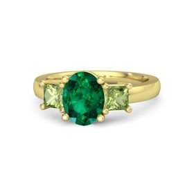Oval Emerald 18K Yellow Gold Ring with Peridot
