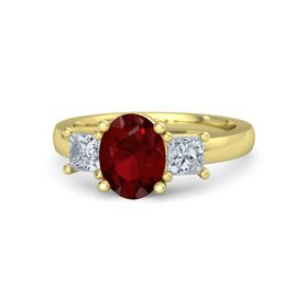 Oval Ruby 18K Yellow Gold Ring with Diamond
