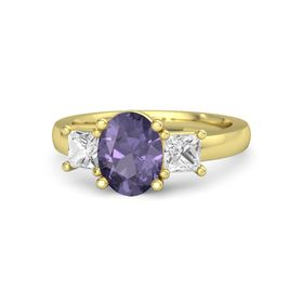 Oval Iolite 18K Yellow Gold Ring with White Sapphire
