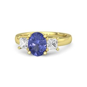 Oval Tanzanite 18K Yellow Gold Ring with White Sapphire
