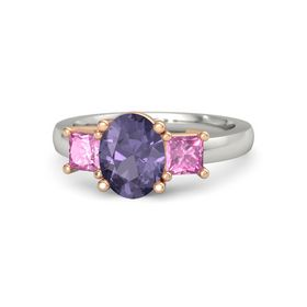 Oval Iolite Palladium Ring with Pink Sapphire