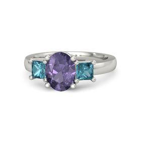 Oval Iolite Palladium Ring with London Blue Topaz