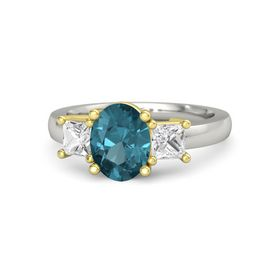 Oval London Blue Topaz Palladium Ring with White Sapphire