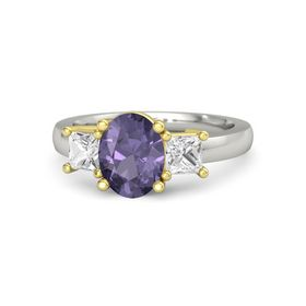 Oval Iolite Palladium Ring with White Sapphire