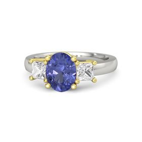 Oval Tanzanite Palladium Ring with White Sapphire