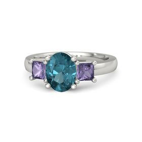 Oval London Blue Topaz Palladium Ring with Iolite