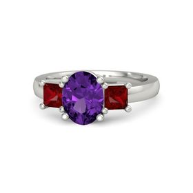 Oval Amethyst Palladium Ring with Ruby