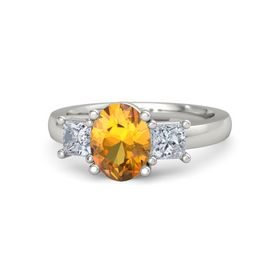 Oval Citrine Palladium Ring with Diamond