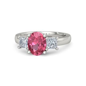Oval Pink Tourmaline Palladium Ring with Diamond