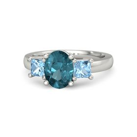 Oval London Blue Topaz Platinum Ring with Blue Topaz
