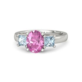 Oval Pink Sapphire Platinum Ring with Aquamarine