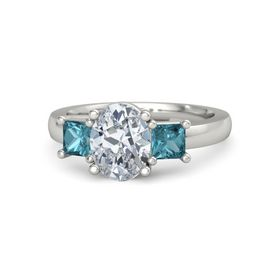 Oval Moissanite Platinum Ring with London Blue Topaz