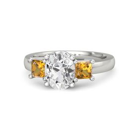 Oval White Sapphire Platinum Ring with Citrine