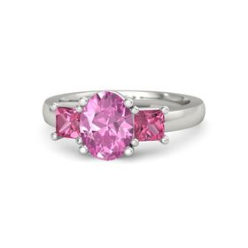 Oval Pink Sapphire Platinum Ring with Pink Tourmaline