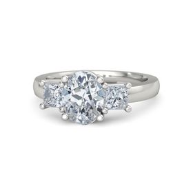 Oval Moissanite Platinum Ring with Moissanite