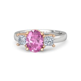 Oval Pink Sapphire Sterling Silver Ring with Diamond