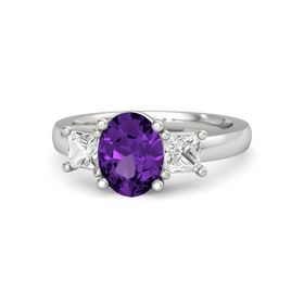 Oval Amethyst Sterling Silver Ring with White Sapphire
