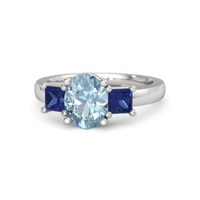 Oval Aquamarine Sterling Silver Ring with Blue Sapphire