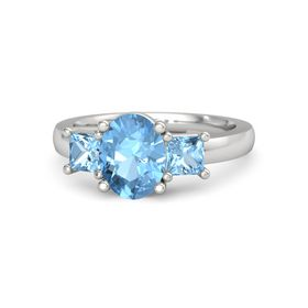 Oval Blue Topaz Sterling Silver Ring with Blue Topaz