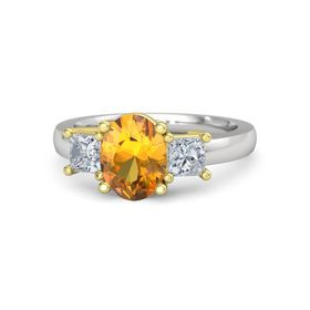 Oval Citrine Sterling Silver Ring with Diamond