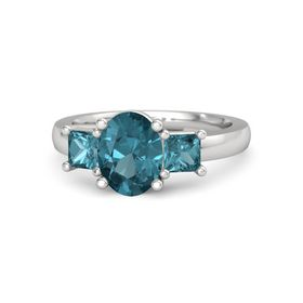Oval London Blue Topaz Sterling Silver Ring with London Blue Topaz