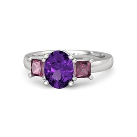 Oval Amethyst Sterling Silver Ring with Rhodolite Garnet
