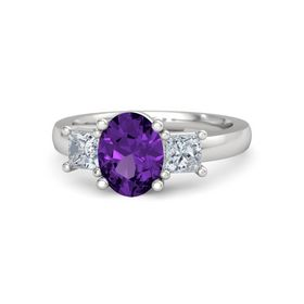 Oval Amethyst Sterling Silver Ring with Moissanite