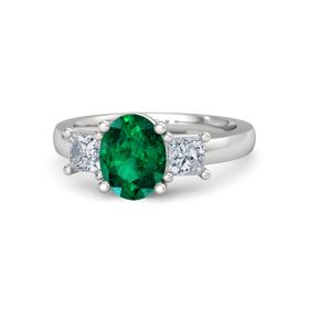 Oval Emerald Sterling Silver Ring with Diamond