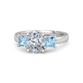 Oval Moissanite Sterling Silver Ring with Blue Topaz