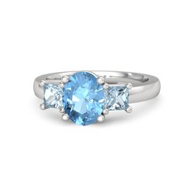 Oval Blue Topaz Sterling Silver Ring with Aquamarine
