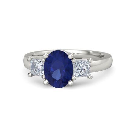 417db9b412a5d Giselle Ring (9mm gem) - Oval Blue Sapphire Palladium Ring with Diamond