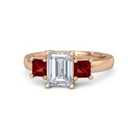 Emerald Diamond 14K Rose Gold Ring with Ruby