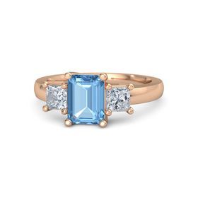 Emerald-Cut Blue Topaz 14K Rose Gold Ring with Diamond