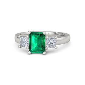 Emerald-Cut Emerald 14K White Gold Ring with Diamond