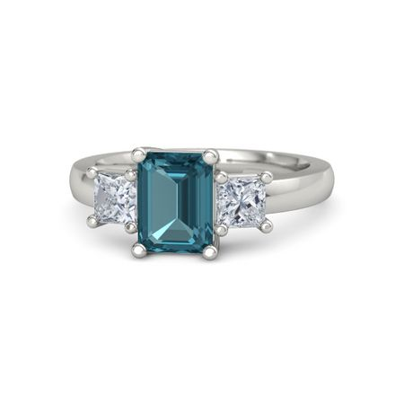 Emerald London Blue Topaz 14k White Gold Ring With Diamond Hannah