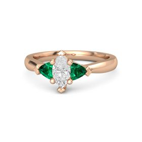 Marquise White Sapphire 14K Rose Gold Ring with Emerald