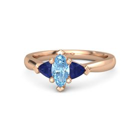 Marquise Blue Topaz 14K Rose Gold Ring with Sapphire