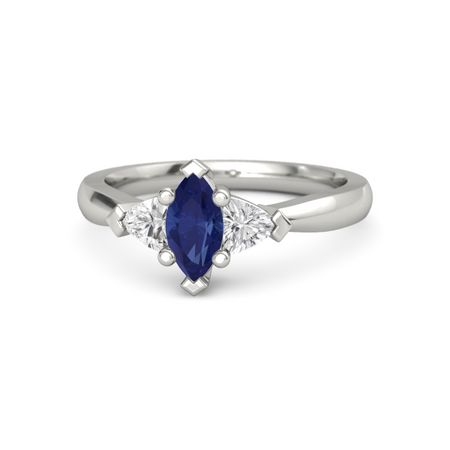 016fc1d3ea482 Tatiana Ring (8mm gem) - Marquise Blue Sapphire 14K White Gold Ring with  White Sapphire