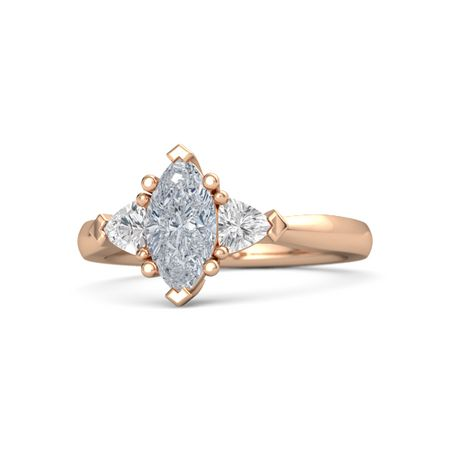 Marquise Diamond 14K Rose Gold Ring with White Sapphire