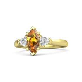 Marquise Citrine 14K Yellow Gold Ring with White Sapphire