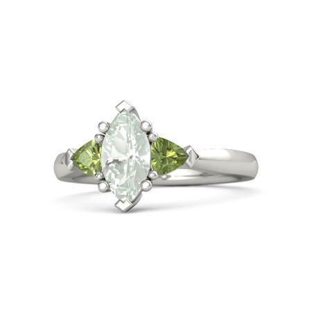 1f73c66a1 Marquise Green Amethyst 14K White Gold Ring with Peridot | Tatiana ...