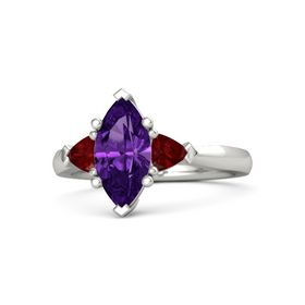 Marquise Amethyst 14K White Gold Ring with Ruby