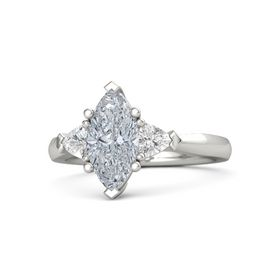 Marquise Diamond 14K White Gold Ring with White Sapphire